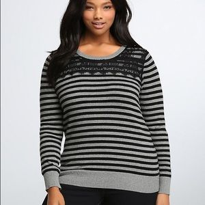 Torrid Striped Lace Inset Sweater